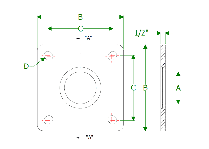 Dimensional Drawing for Plate Seals